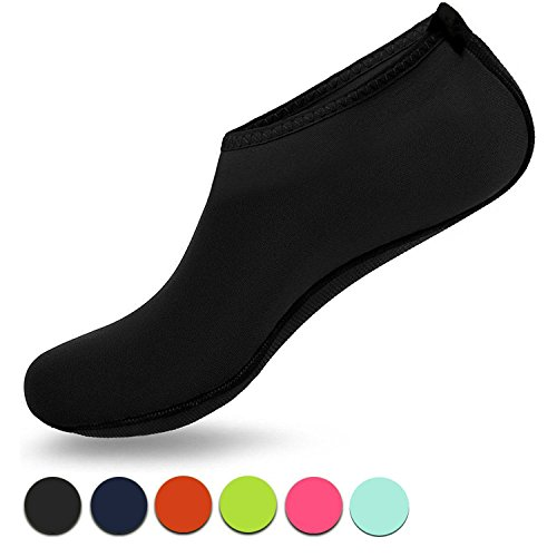 VIFUUR Water Sports Shoes Barefoot Quick-dry Aqua Yoga Socks Slip-on for Men Women Kids BlackSoft-40/41