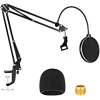Neewer NW-35 Microphone Stand with Microphone Windscreen Foam and Dual-Layered Mic Pop Filter - Suspension Boom Scissor…