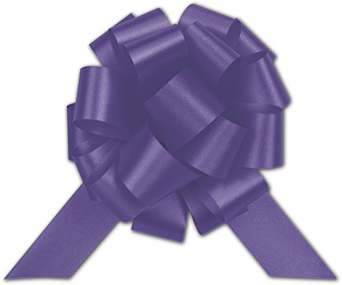 Bows - Purple Satin Perfect Pull Bows, 18 Loops, 4' (50 per box) - BOWS-257-0418-14