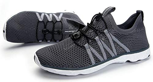 SUOKENI Men's Quick Drying Slip On Water Shoes for Beach or Water Sports Darkgrey by SUOKENI (Image #7)