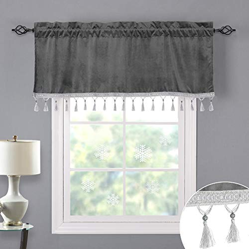 Luxury Grey Valance Curtains 18-inch - Soft Thick Velvet Tier Curtains with Charming Tassel and Beads, Rod Pocket Light Blocking Short Window Covering/Cafe Curtains, W52 x L18, 1 Panel