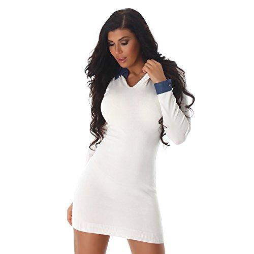 Enzoria - Vestido - Camisa - Manga Larga - para mujer crema blanco