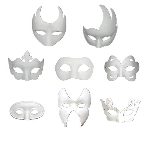 Ru S White Masks, DIY Unpainted Masquerade Masks/Pack of 8 (Color)]()