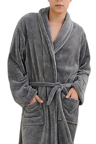 WSPLYSPJY Mens Winter Turkish Terry Cloth Robe Thick Bathrobe Grey L (Camo Mens Bathrobes)