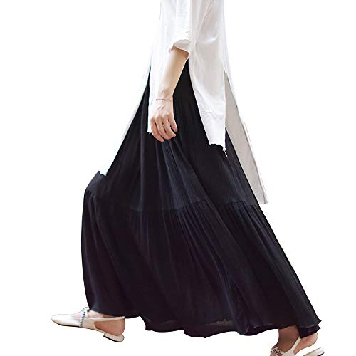 RoseLily Women's Bohemian Long Cotton Linen Skirt Elastic Waist A-Line Flare Pleated Swing Flowy Maxi Skirts Black ()