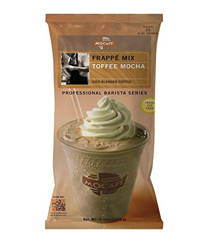 MOCAFE Frappe Toffee Mocha Ice Blended Coffee, 3-Pound Bag Instant Frappe Mix, Coffee House Style Blended Drink Used in Coffee Shops