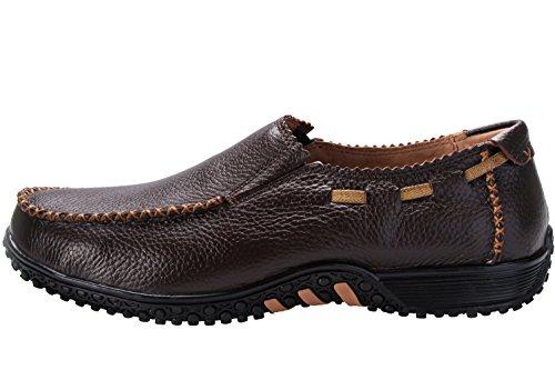 Anlamb Mens Premium Business Casual Lederen Schoenen Slip Op Spant Bootschoenen Bruin