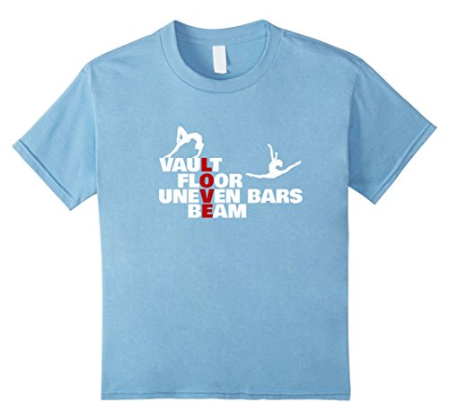 Kids Gymnastics Vault Floor Uneven Bars Beam Love Funny T Shirt 10 Baby Blue