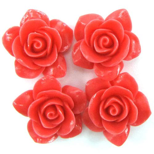 ShopForAllYou Design Making 8 26mm Synthetic Coral Carved Rose Flower Pendant Bead Pink (Coral Rose Carved Flower)