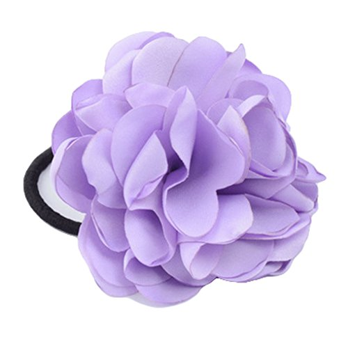 Women Ponytail Holder Hair Ties with Fabric Camellia Flower Rope Ring Ties JA90 (Lavender) (Lakers Costume)