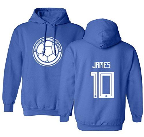 Tcamp Colombia 2018 National Soccer #10 James RODRIGUEZ World Championship Men's Hooded Sweatshirt (Royal, Adult Large)