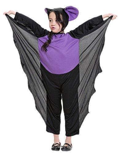 [Woo2u Girls Kids Halloween Cosplay Party Batgirl Stage Costume Purple XS] (Middle Eastern Girl Costume)