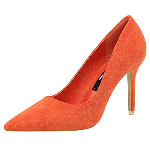 Purple Shoes Heel Woman Flock High Heels Women Pumps Ladies Office Shoes,Orange Office Heels,4