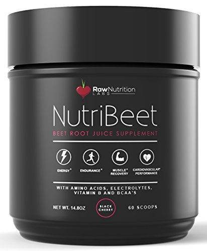 Beet Juice Benefits (Raw Nutrition Labs NutriBeet Nitric Oxide Optimizer Organic Beet Root Juice Powder with Amino Nitrate Matrix, Electrolytes, Vitamin B Energy Boost & BCAA Recovery Support (60 scoops), 14.8 oz)