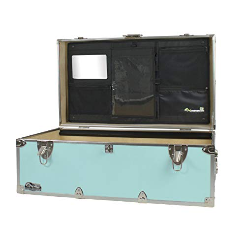 C&N Footlockers Happy Camper Trunk with LidMate Organizer - Camping Storage Chest - Durable with Lid Stay - 32 x 18 x 13.5 Inches (Mint)