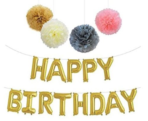 Happy Birthday Foil Balloon Letters – Banner & Tissue Paper Pom Poms - Reusable Helium Quality Party Decorations - Gold Color Design by Jolly Jon ® -