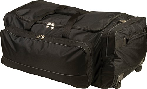 Champion Sports Wheeled Equipment Bag: Large Nylon Athletic Travel Bag with Wheels for Baseball, Football, Basketball, Soccer, Hockey, and Training ()