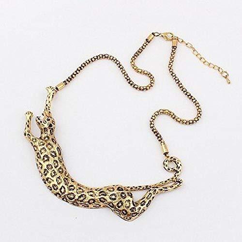 Tony Jeans Style Retro Bronze Color Leopard Necklaces N1317