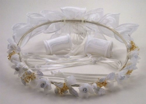 Organza Bow Headband - Beautiful Child Wreath of Tulle and Satin Flowers with Silk Leaves Adorned with Tiny Dried Baby's Breath and Organza Bow and Streamer in the Back #81GJwi (WHITE)