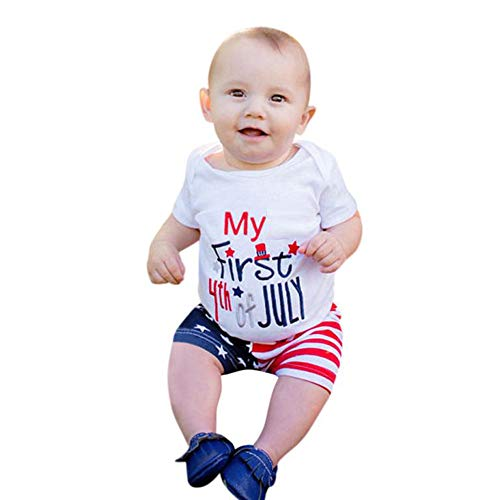 Independence Day Newborn Baby Girls Boys Summer Outfits Set t Shirt Tops Star-Spangled Shorts Pants for July Fourth (White, 12-18 M) ()