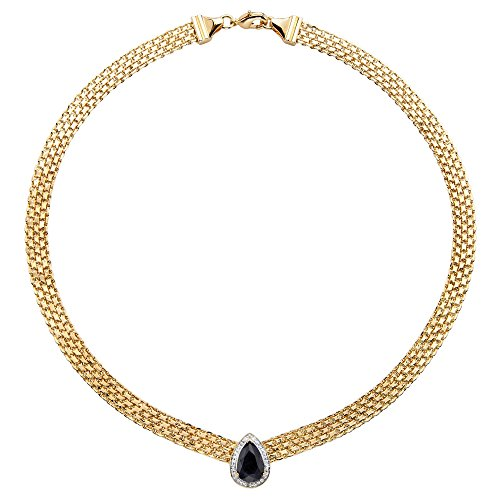 Pear-Cut Genuine Midnight Blue Sapphire Halo Necklace 18k Yellow Gold-Plated 16