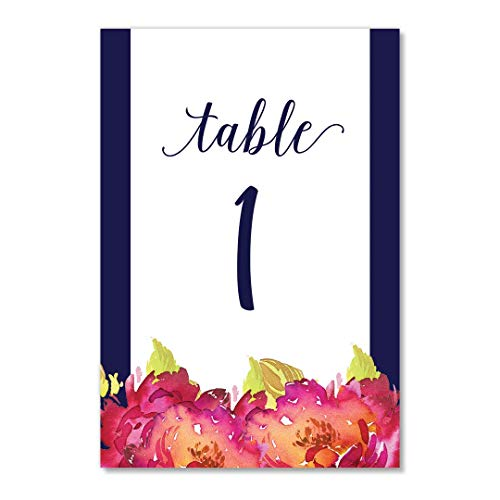Navy Border Floral Table Numbers 25 Pack Single Sided 4