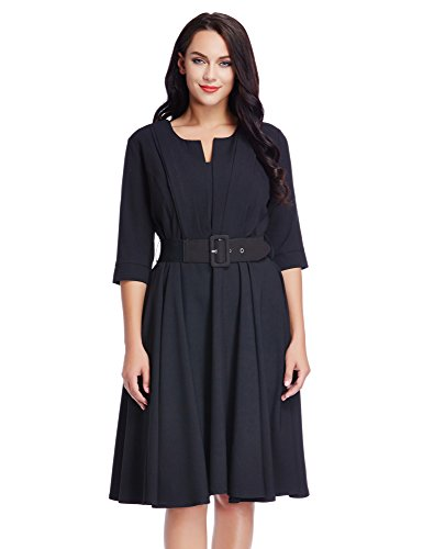 LookbookStore Womens Belted Pleated Cocktail