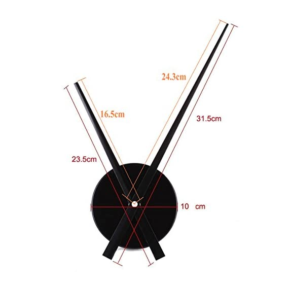 Timelike 3D Clock Hands, DIY Large Clock Hands Needles Wall Clocks 3D Home Art Decor Quartz Clock Mechanism Accessories (Black) - Hour hand length: 23.5cm ; Minute hand length: 31.5cm; Clock Dial: 10.4cm; Material: alumnium Powered by 1*AA battery(not including) Simple Design: Cool clock has an open design with just minute and hour hands. - wall-clocks, living-room-decor, living-room - 41G%2BYZTGJXL. SS570  -