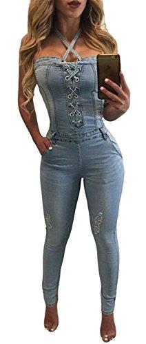 [Women Sexy Strapless Denim Jumpsuit Summer Cowboy Skinny Romper Bodysuit] (Stretch Jumpsuit)