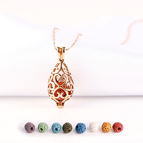 Top 10 best essential oil necklace lava stone gold 2019