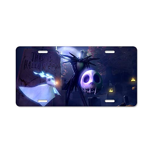 Boeshkey The Nightmare Before Christmas Halloween License Plate Frame Slim Alumina 4 -