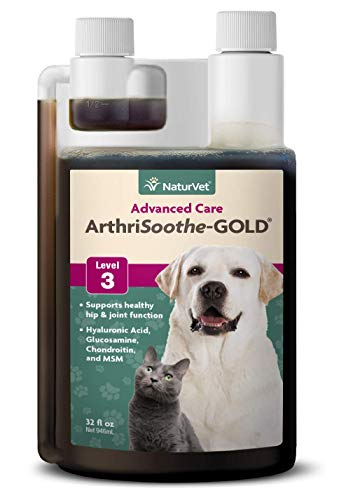 NaturVet - ArthriSoothe-Gold Advanced Care Liquid - Level 3 Advanced Joint Care - Supports Healthy Hip & Joint Function - Enhanced with Glucosamine, MSM & Chondroitin - for Dogs & Cats (32 oz Liquid) from NaturVet