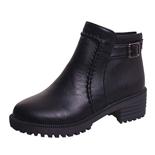 Zlolia Women Fashion Paint Surface Leather Waterproof Ankle Bootie Casual Lace Up Short Combat Boots for Ladies Black