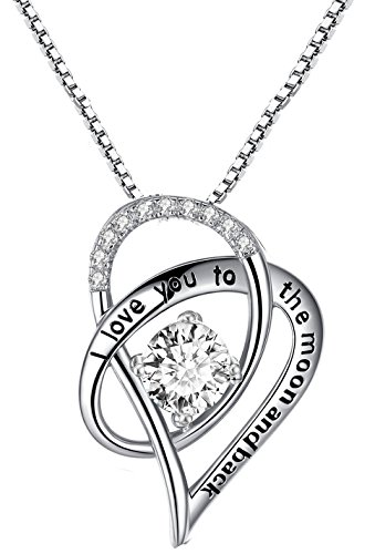 Forfamilyltd Sterling Silver I Love You to The Moon and Back Love Heart Pendant Necklace with Love Card, White
