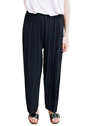 sourcingmap® Mujeres Alto cintura elástica plisada Culottes recortada Navy blue
