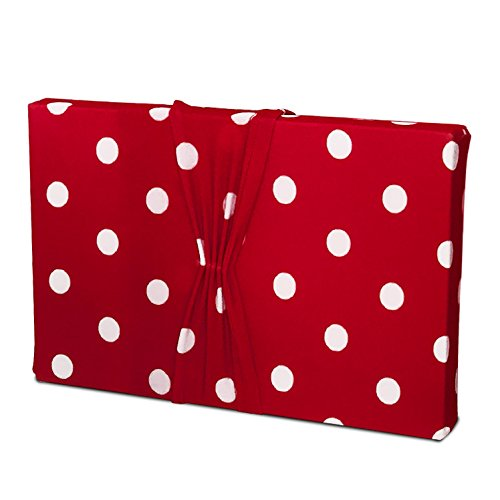 (Gift Wrap - Stretchy Fabric, Reusable and Eco Friendly - Cherry Red and White Polka Dots (Large) Birthday Wrapping or Great For All Occasions)