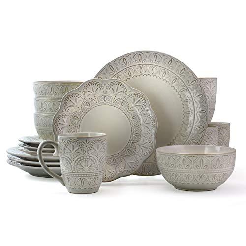 Elama Elegant Round Embossed Stoneware High Class Dinnerware Dish Set, 16 Piece, White