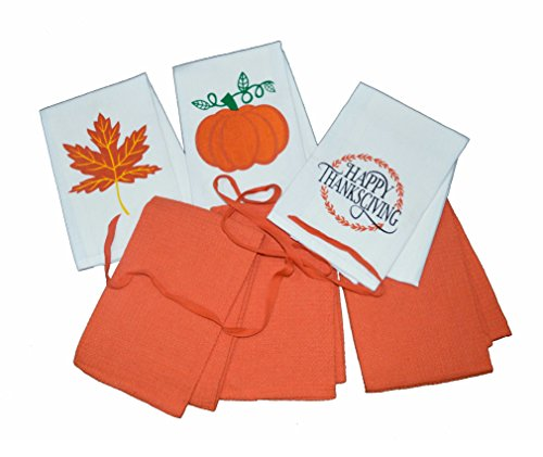 100% Pure Cotton Kitchen Towels / Thanksgiving Dish Towels / Tea Towels (Set of 6 Pieces) (17 x 27 Inch) by J Home