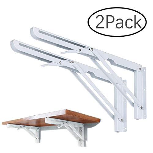 2PCS Folding Shelf Bracket, Wall Mount Support – Heavy Duty Fold Table Hinge Brackets – Polished Stainless Steel Spring…