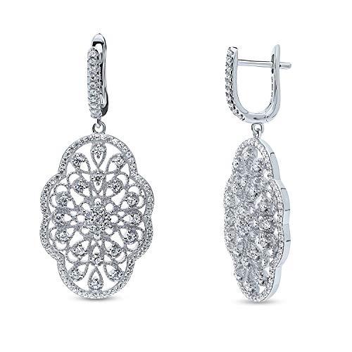 BERRICLE Rhodium Plated Sterling Silver Cubic Zirconia CZ Flower Art Deco Filigree Wedding Dangle Drop Earrings Cubic Zirconia Pattern Earrings