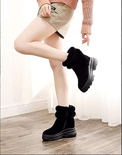Spesse In Rialzo Scarpe A Inverno Interno Donna Suole Più Neve Con Zeppa Metà Da Donna Velluto Autunno Nero Tubo Stivali Scarponi Xqy xwRqPP