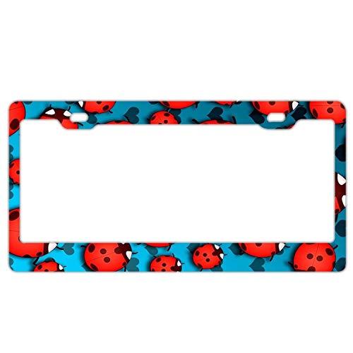 Fabulous Ladybug Pattern Print Retro License Plate Frame,Car Tag Frame, Aluminum License Plate Holder, Cute License Plate Frame -