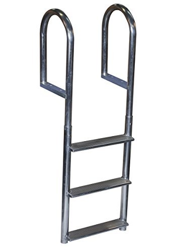 Dock Edge Welded Fixed Wide Step Dock Ladder, 3 Steps, Aluminum by Dock Edge