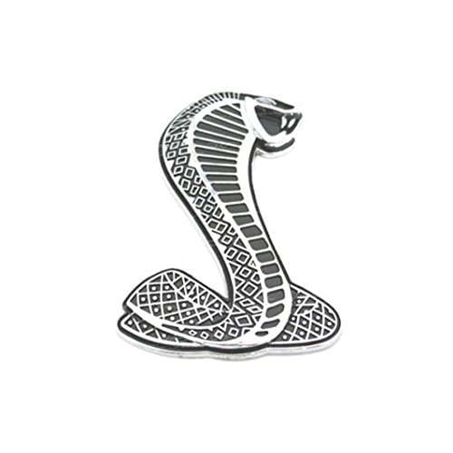 3D Cobra Shelby Snake Front Auto Metal Grill Fender Truck Emblem Decals Badge w/Installation Bracket For Ford Mustang GT SVT (Silver) ()