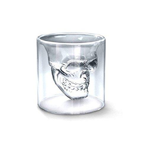 Skull Whiskey Glass - Skull Wine Glass - 3 Sizes Wine Glass Designer Skull Head Shot Glass Fun Doomed Transparent Party Doo Glass Vaso My Bootle Copo Beer Party - Glass Shower Head(150ml) Glass 500 Snare