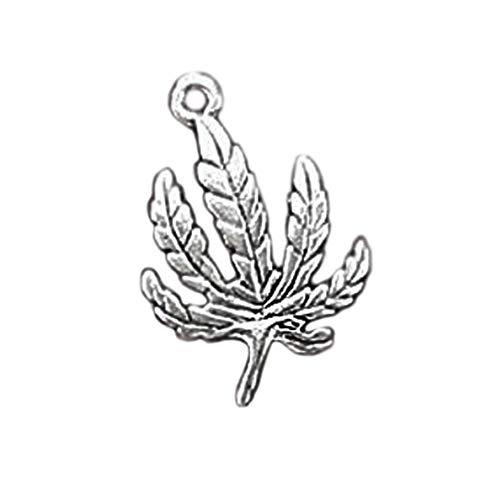 Bracelets Hemp Wholesale (8 Marijuana Leaf Charms Antique Silver Hemp Weed - SC1872 Jewelry Making Supply Pendant Bracelet DIY Crafting by Wholesale Charms)