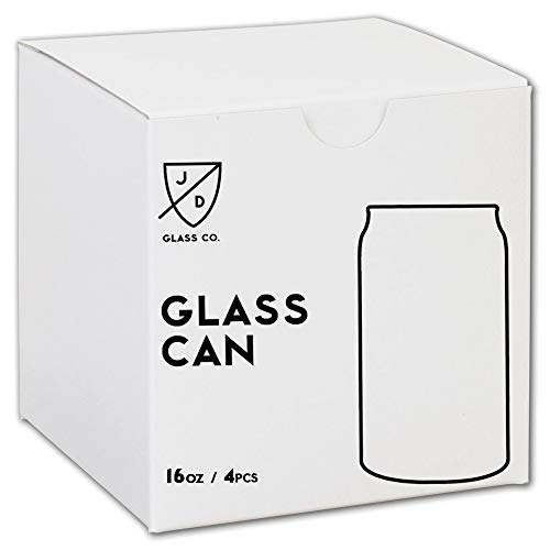 JD Glass Co. Glass Can 16 Ounce - 4 Pack ()