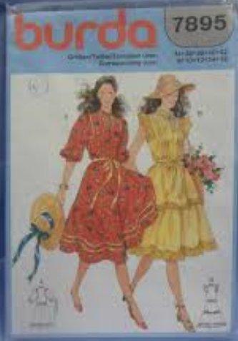 Burda vintage mehrgrößen Schnittmuster 7895 Damen Kleid Rüschenkleid ...