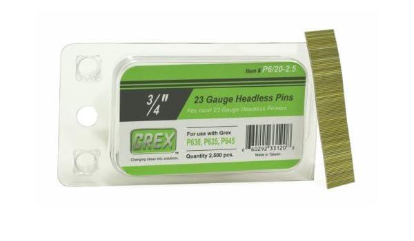 GREX P6//45-2.5 23 Gauge 1-3//4-Inch Length Headless Pins 2,500 per box