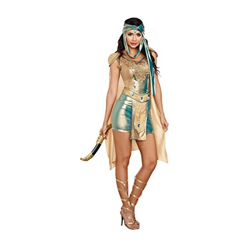 Adult Warrior Queen Costumes (Dreamgirl Women's Scorpion Warrior Queen Costume, Gold/Green, Small)